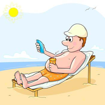 Man holding phone in hand and sunbathe on the beach.
