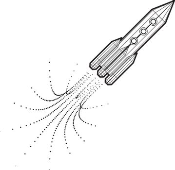 Launch of a space rocket in the drawing style. Vector illustration on white background