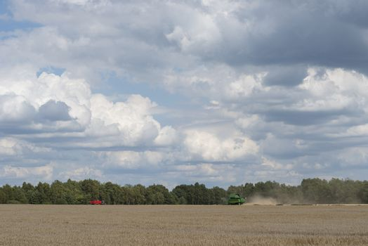 Green combine on a vast agricultural field with beautiful cloudy skies in the summer