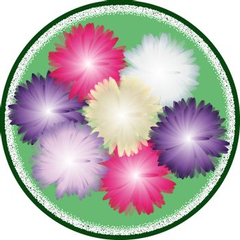 Autumn bouquet from asters in gentle tones inside green circle. Top view. greeting card