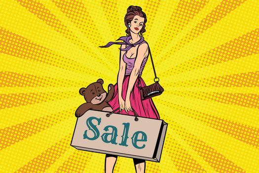 Beautiful girl with soft toy bear, discounts and sale