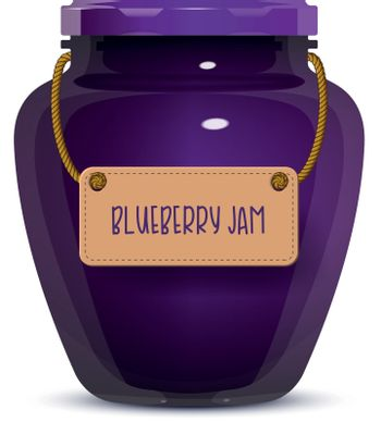 Glass jar of blueberry jam with label isolated on white background. Realistic vector illustration