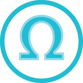 Omega 3, 6, 9 acid medical symbol round blue vector icon