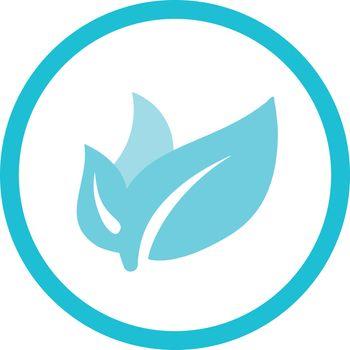 Three leaves organic symbol blue round vector icon