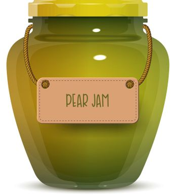 Glass jar of pear jam with label isolated on white background. Realistic vector illustration