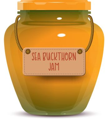 Glass jar of sea buckthorn jam with label isolated on white background. Realistic vector illustration