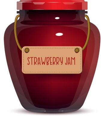 Glass jar of strawberry jam with label isolated on white background. Realistic vector illustration