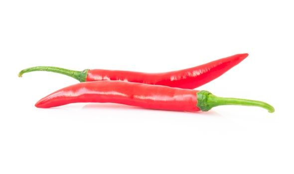 Red hot chilli pepper on white background, raw material for make