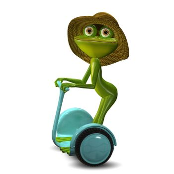 3d Illustration of the Green Frog in the Straw Hat in Segway