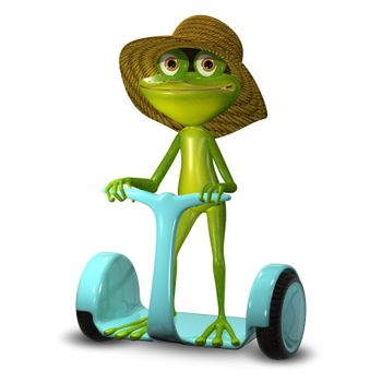 3d Illustration  Green Frog in a Hat on Segway