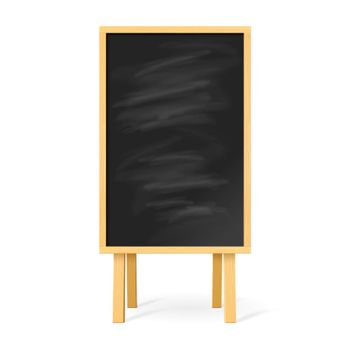 Blackboard with Wooden Easel on White Background