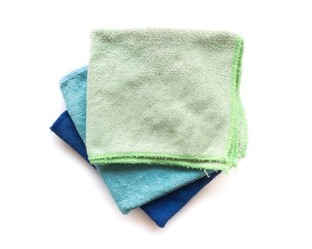 Pile of microfiber cloth for clean on white background, workhous