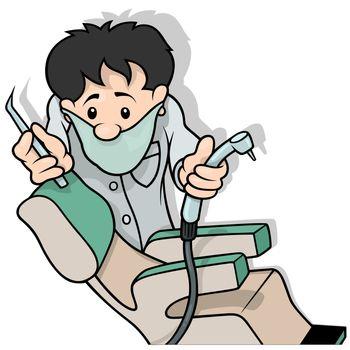 Dentist Holding Drill - Cartoon Illustration, Vector