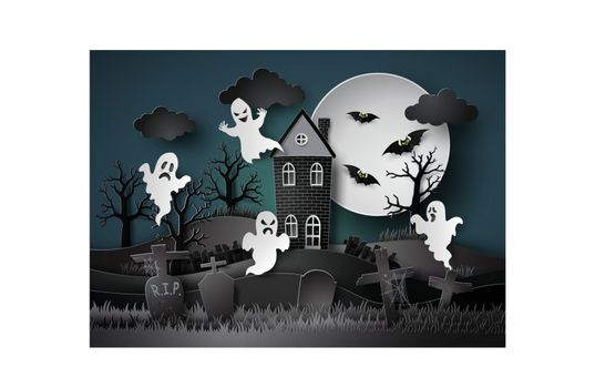 Halloween party with ghost and graveyard in fullmoon.paper art stlye.