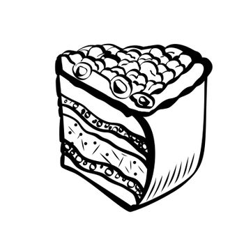 Hand Drawn Sketch of Berry Cake. Vintage Sketch. Great for Banner, Label, Poster