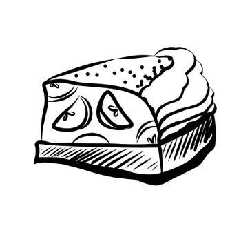 Hand Drawn Sketch of Apple Pie Piece. Hand Drawn Sketch of Food Elements