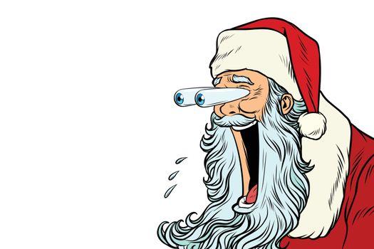 Santa Claus with bulging eyes, a surprise reaction