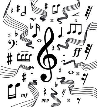 Wavy music staves. Vector illustration set on white background
