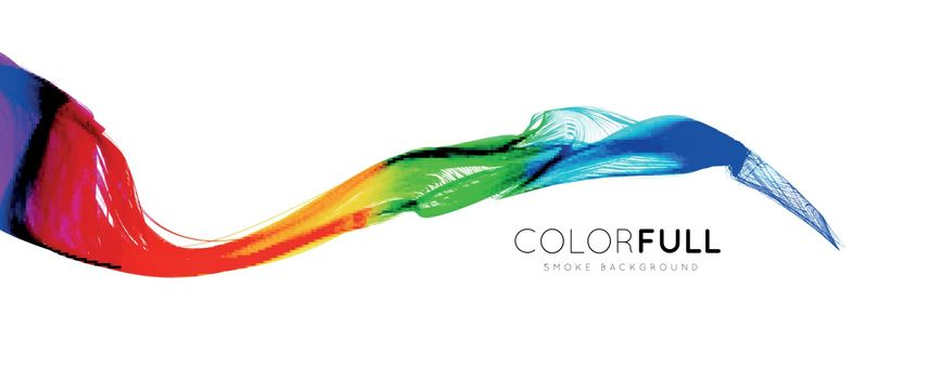 Colorful gradient wave of rainbow color on a white background. Vector illustration