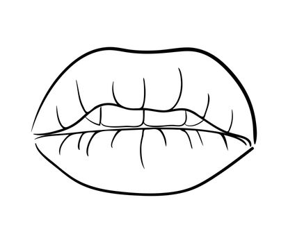 lips with teeth cartoon outline vector symbol icon design. Beautiful illustration isolated on white background