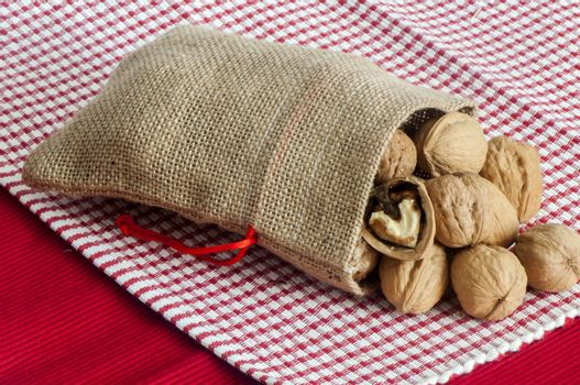 a some nuts inside a jute bag