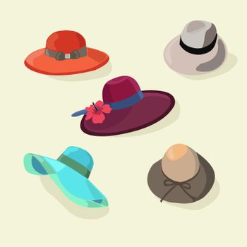 Cartoon Color Hats Set Fashion for Men and Women Style Accessories Flat Style. Vector illustration
