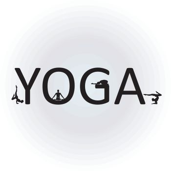 Text yoga with different yoga poses