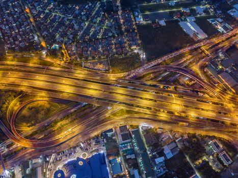 Aerial view of expressway at night