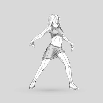 Modern Style Dancer Posing Sketch of Dancing Girl on a Gray Background