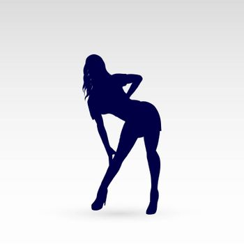 Modern Style Dancer Silhouette of a Dancing Girl on a Gray Background