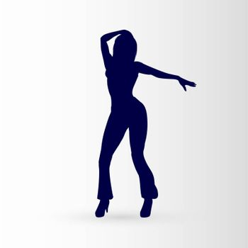 Modern Style Dancer Posing Silhouette of a Dancing Girl on a Gray Background