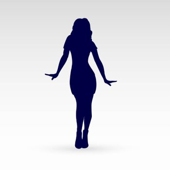 Modern Style Dancer Posing Silhouette of Dancing Girl Isolated on Gray Background