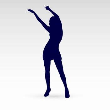 Modern Style Dancer Posing Silhouette of a Dancing Girl on a Gray