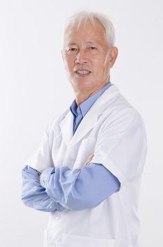 Old man in lab coat