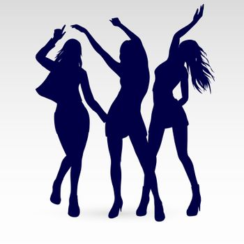 Silhouettes of Dancing Girls Set. Illustration Silhouettes on White Background