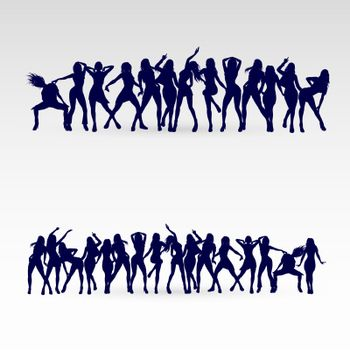 Silhouettes of Dancing Girls Set. Illustration Silhouettes of Womans on White Background