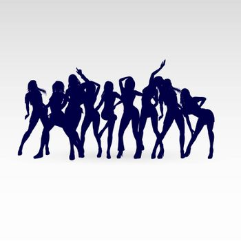 Silhouettes of Go-Go Dance Girls. Illustration Silhouettes on White Background