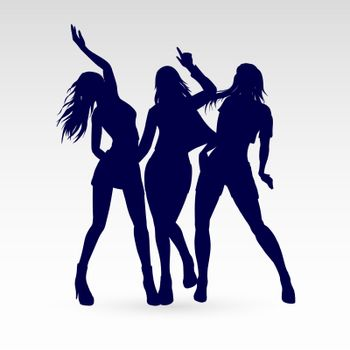 Silhouettes of Go-Go Dance Girls. Illustration of Womans on White Background