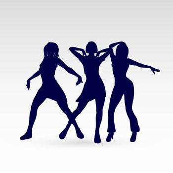 Silhouettes of Go-Go Dance Girls. Illustration Silhouettes of Womans on White