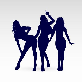 Silhouettes of Go-Go Dance Girls. Illustration Silhouettes of Womans on White Background for Design