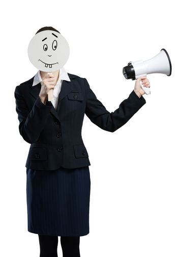 Unrecognizable businesswoman with megaphone hiding her face isolated on white