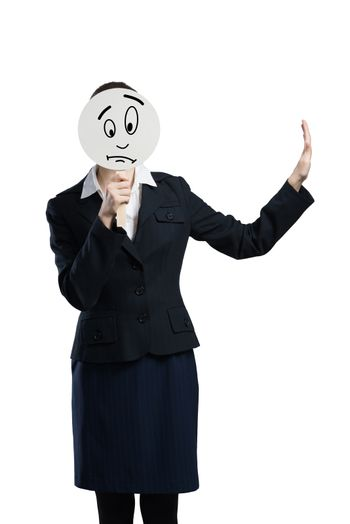 Businesswoman hiding her face behind round banner with sad smiley