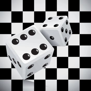 Playing dice for a casino on a transparent checkered background. Vector illustration