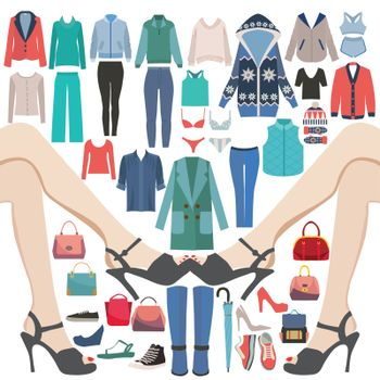 Vector Fashion Woman clothes  Clothes and accessories  icon set. Fashion Collection Of Big sale and shopping.