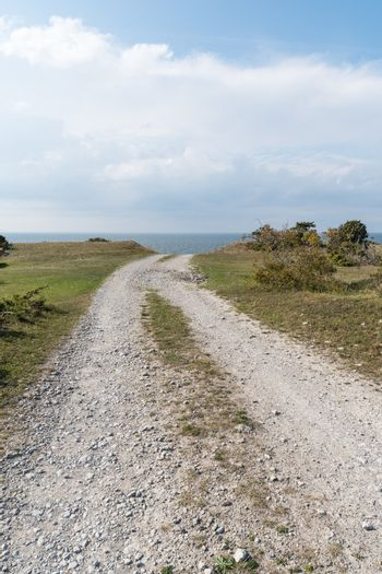 Old gravel road to the coast