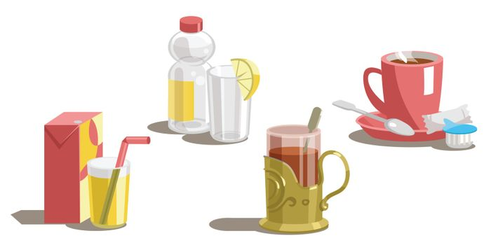 Set of drinks on a white background.Vector illustration