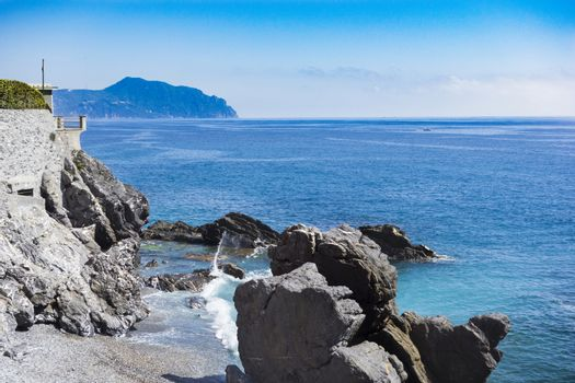 rocky coast of Nervi in Genoa in Liguria
