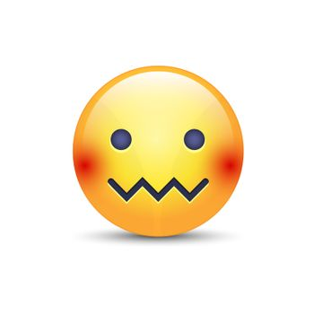 Confounded emoticon face. Zipper-Mouth Face. Embarrassed emoticon with a mouth in the form of a zig-zag. Facial expression confounded emoticon icon