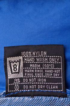 Clothing label on raincoat