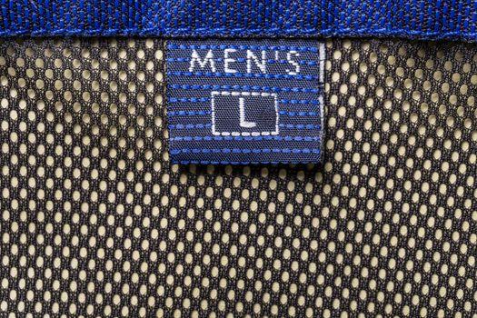 Men's size clothing label